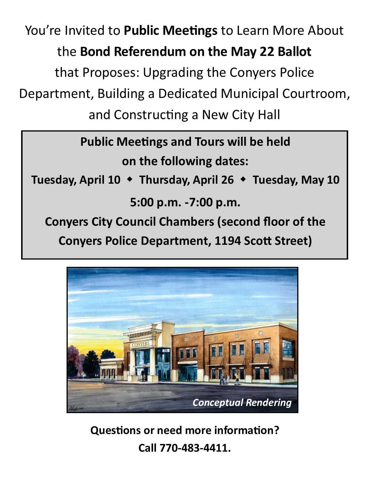 Public Meetings for May 22 Bond Referendum